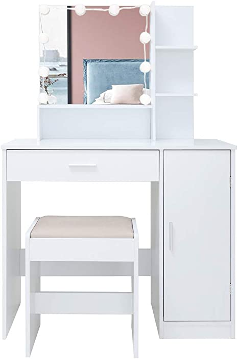 Usikey Vanity Table Set With 10 Light Bulbs Makeup Table With 1 Large Drawer 1 Storage Cabinet Dressing Vanity Table Dresser Desk With Cushioned Stool For Bedroom Bathroom White Kitchen