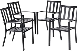 EMERIT Patio Wrought Metal Indoor Outdoor Stackable Dining Arm Chairs Set of 4,Black