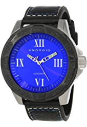 Android Men's AD667BKBU Exodus Automatic Brushed Ion-Plated Black Fixed Bezel Screw Down Crown Watch