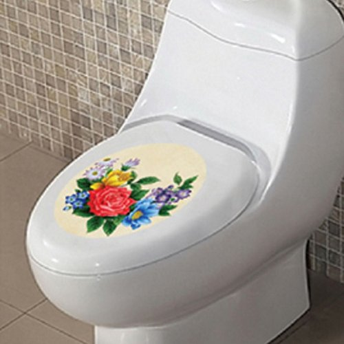 Toilet Bathroom Decor Seat Lid Cover Rose Flower M1-36 Wall Stickers Decal DIY (Gamer Car Seat Covers compare prices)