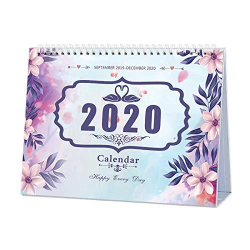 Easel Calendar 2020 - Desk Calendar 2019-2020, Runs from September 2019 to December 2020, Twin-Wire Binding, Desktop Calendar Monthly Planner Daily Calendar Planner for School, Office, Home Use - Violets