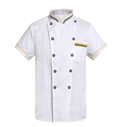 9ee5e1f5eb9 Oudan s Unisex Chef Chaquetas Diseño de Bolsillo Cuello Permanente  Uniformes de Cocina con Botones Camisas