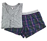 Victoria's Secret Pajama Set Dreamer Short and Henley Light Gray / Dark Gray Plaid Large