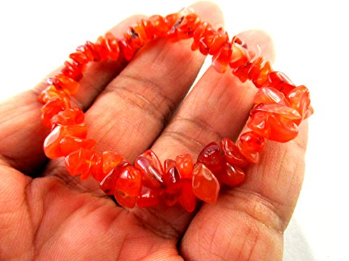 HiJet Unique Carnelian Chips Bracelet Negative Ions Provider making Jewelry Balancing Positive Energy Harmony Luck Yoga Meditation Reiki Unique Genuine Authentic Fashion Style Christmas Xmas Gift (Carnelian Onyx)