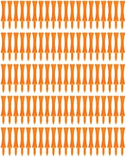 Orange Plastic Golf Tees Set Lightweight Small Portable Trapezoidal Tees for Outdoor 100Pcs 70mm