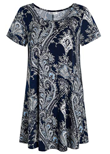 Esenchel Women's Tunic Top Casual T Shirt for Leggings M Crack Paisley (Patterned Tops)