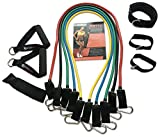 WODFitters Portable Home Gym in a Bag - 5 Resistance Bands With Soft Grip Handles and Durable Clipping System, Door Anchor, Wrist and Ankle Straps