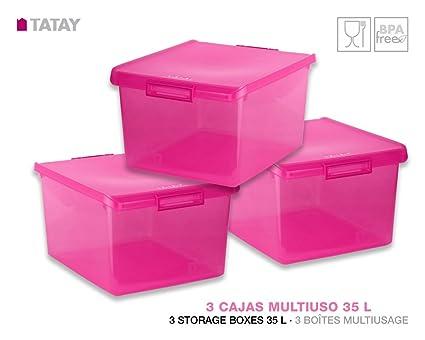 TATAY 1150012 Lote 3 Cajas Multiusos 35 Litros Medidas 48 x 38 x 26 cm Color