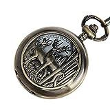 Deer Design Pocket Watch Chain Quartz Movement Arabic Numerals Half Hunter + Box