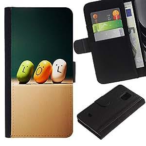 Be Good Phone Accessory // Caso del tirón Billetera de Cuero Titular de la tarjeta Carcasa Funda de Protección para Samsung Galaxy S5 Mini, SM-G800, NOT S5 REGULAR! // Lol Quote Slogan Art Smiley Funny Candy
