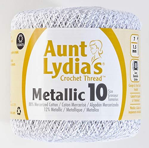 Coats Crochet Metallic Crochet Thread, 10, Silver - Coats & Clark Metallic Thread