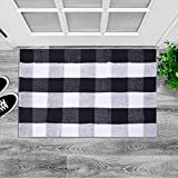 "LHtrade Cotton Rug Buffalo Checkered Plaid Area Rug Bath Runner Door Mat for Entry Way Washable Bath Doormat Bedroom Carpet (24"" x 35"", Black and White Plaid Rug)"