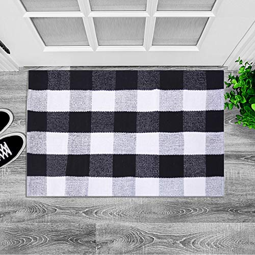 LHtrade Cotton Rug Buffalo Checkered Plaid Area Rug Bath Runner Door Mat for Entry Way Washable Bath Doormat Bedroom Carpet (24