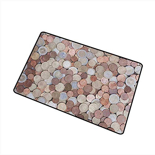 (Axbkl Interesting Doormat Money Close Up Photo of Coins European Union Euros Cents on Rustic Wooden Board W31 xL47 Personality)