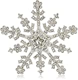 Napier silver-tone and crystal snowflake brooch and pin