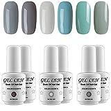 la colors gel like nail polish - Gellen Cold Gray Series 6 Colors Gel Nail Polish, UV LED Soak Off Gel Polish Set