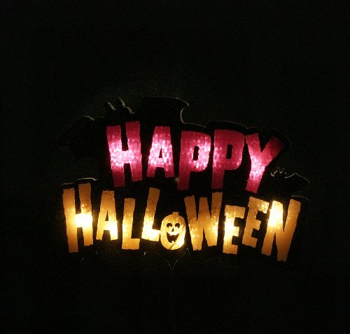 amazoncom 16 lighted happy halloween sign window silhouette decoration home kitchen - Light Up Halloween Decorations