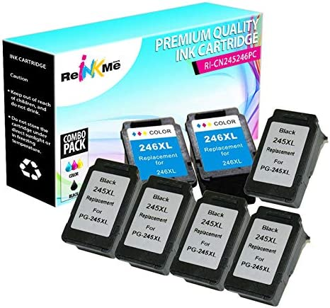 ReInkMe 7 Pack Remanufactured 245XL//246XL Ink Cartridges for Canon Pixma MG2420