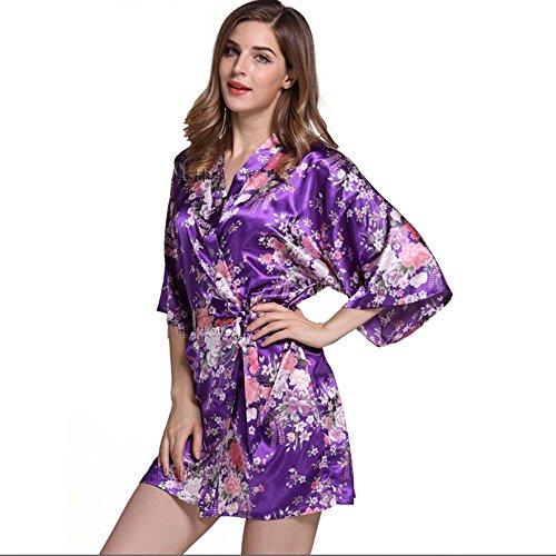 La Sra párrafo chaqueta corta impresa primavera y el verano camisón de peonía bata corta Purple