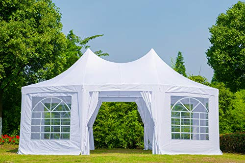 Erommy 20x15ft Party Tent Gazebo Pavilion Adjustable Removable Sidewalls White Shelter with Carrying Case Bag for Wedding,Garden