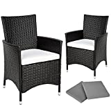 TecTake 2 x Poly rattan garden chairs ALUMINIUM FRAME armchair set + cushions + 2 sets for exchanging the upholstery - different models -