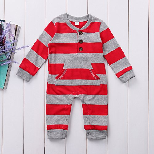 Baby Boys Girls Long Sleeve Christmas Striped Romper With Pocket
