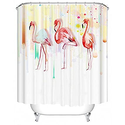Comfor Tech Three Flamingo Flamingos Shower Curtain Bathroom Including 12 White