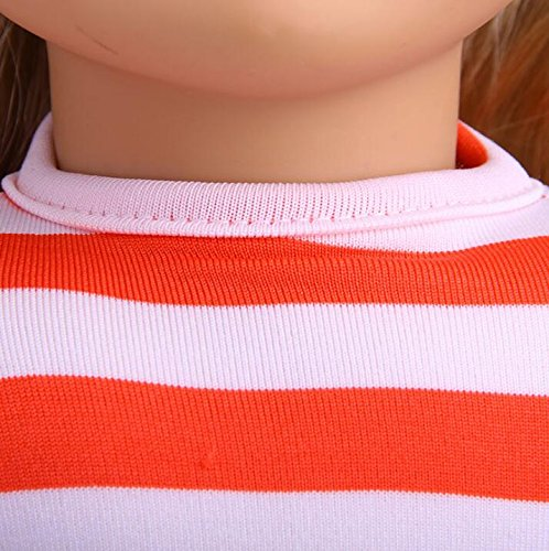 - Zhahender 18 inch American Doll Striped T-Shirt (Pink)