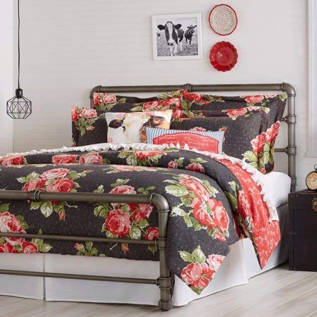 (The Pioneer Woman Rose Garden Comforter, Queen, Grey)