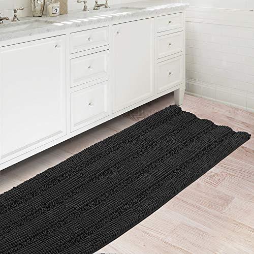Bath Rugs Ultra Thick and Soft Texture Bath Mat Chenille Plush Striped Floor Mats Hand Tufted Bath Rug with Non-Slip…