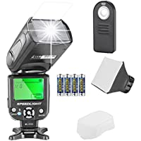 Neewer NW561 Speedlite Flash Kit for Canon Nikon Olympus Fujifilm DSLR Cameras, Includes: Flash +Flash Diffuser +5-in-1 Remote Control +4 Batteries