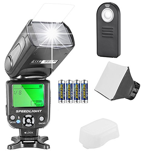 Neewer NW561 Speedlite Flash Kit for Canon Nikon Olympus Fujifilm DSLR Cameras, Include:NW-561 Flash +Flash Diffuser +5-in-1 Multi Function Remote Control +4Batteries +Micro Cleaning Cloth (For Flash Canon Camera Kit)