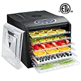 Ivation 480w Precision Electric Food Dehydrator Pro Machine - 6 Drying Racks - Digital Temperature Control, Timer & Auto Shutoff - 95ºF to 158ºF - for Beef Jerky, Dried Fruits, Vegetables & Nuts