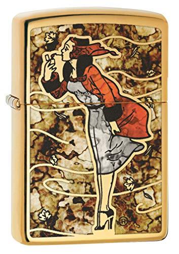 - Zippo Lighter: Fusion Windy Girl - High Polish Brass 79950