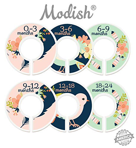 Modish Labels Baby Nursery Closet Dividers, Closet Organizers, Nursery Decor, Baby Girl, Birds, Flowers, Pink, Mint, Navy Blue, Tribal, Woodland