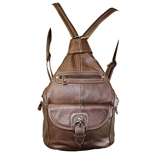 Women's Genuine Leather Sling Purse Handbag Convertible Shoulder Bag Tear Drop Backpack Mid Size Brown