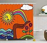 Creative Bath Rainbow Fish Shower Curtain Ambesonne Abstract Shower Curtain by, Artistic Creative Design with a Hand Holding a Rainbow Sun Flowers Fishes Cloud, Fabric Bathroom Decor Set with Hooks, 84 Inches Extra Long, Multicolor