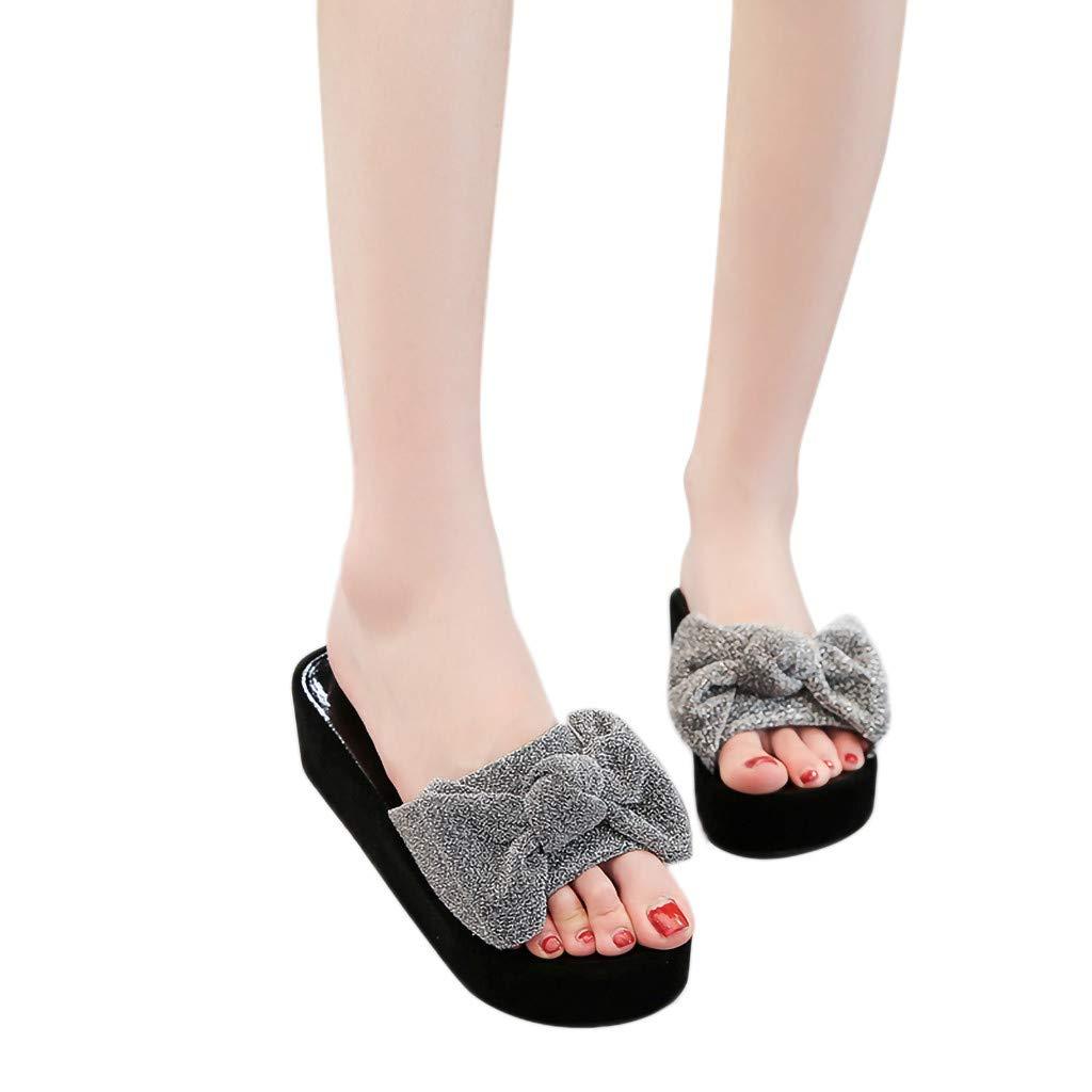Amazon.com  Women Wedges Platform Sandals Casual Bow Flat Flip-Flops  Outdoor Slippers  Clothing