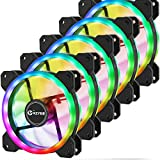 KZYEE Wireless RGB Case Fan, 120mm Ultra Low Noise High Airflow Dual Light Loop LED Cooling Fans with Controller, Great for Gaming Computer Cases, CPU Coolers and Radiators (5 Pack)
