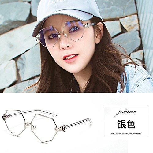 en la puissance du pouvoir avec lestran de montures de lunettes rétro femmes coréennes octogonale de lunettes miroir pearl nez personnalité argenté