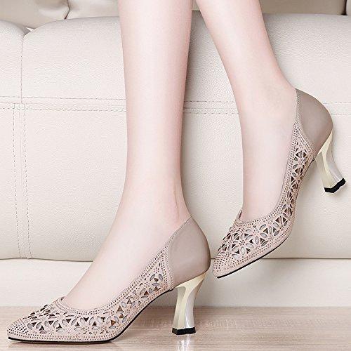 Gtvernh Salvaje Mujeres Mujer Hollow Superficial Zapatos Tacon Zapatos Alto Taladro Grueso Boca El Y la Puntiagudos Black Primavera Verano Cm De Zapatos 8 OOqrFwx7d