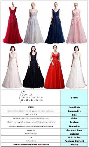 neck Appliques Black Long Cocktail Double Tulle Babyonline Gowns V Evening Women's tXnwCnqvR
