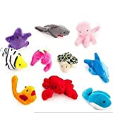 Super Value - Finger Puppets Ocean Sea Marine Animal - 10 pcs soft plush - Kids Educational Toy - Children storytelling Props - Baby Bed Stories Helper Doll - Dolphins, Octopus,Whales,Starfish,Sharks,Sea Lions,Lobster,Hippocampus,Sea Turtles,Tropical Fish