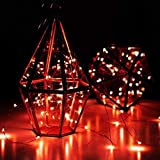LED Starry Fairy Light Lantern Powered Waterproof Copper Wire Rope Lamp Outdoor Indoor Plant Decoration for Holiday Party Valentine's Day (Red)