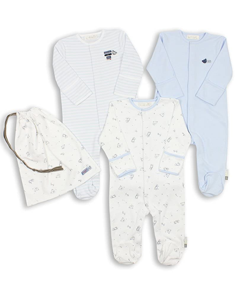 The Essential One - Baby Boy Pack of 3 Blue Sleepsuits - ESS73