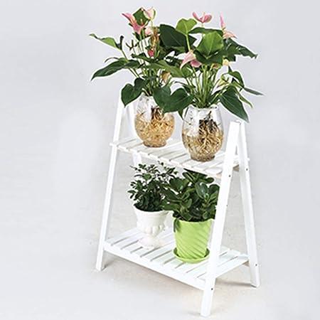 Wooden Storage Rack Plants Potted Storage Rack Flower Pot Rack Stand White