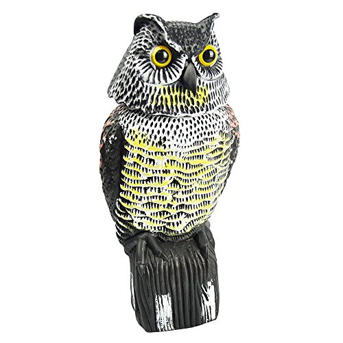 Sunflower Realistic Owl Decoy With Rotating Head Bird Pigeon Crow Scarer Scarecrow Horned Owl Pest Deterrent (Decoy Head Owl)