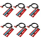 CHICPICK 6-Pack PCI-E 1X to 16X Riser Cable Adapter, USB 3.0 60cm Cable, GPU graphics card Extension Cable,SATA Cable ,Pcie Bitcoin Mining Modules,Molex 4 Pin Power Connector (6 Pack Red VER007)