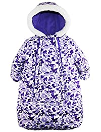 Pink Platinum Baby Girls Snowsuit Carbag Floral Camo Winter Puffer Bunting Pram, Purple, 0-3 Months