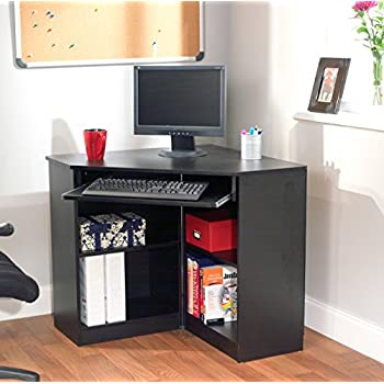 Target Marketing Systems Oxford Collection Modern Corner Computer Desk With  4 Shelves And Keyboard Space,
